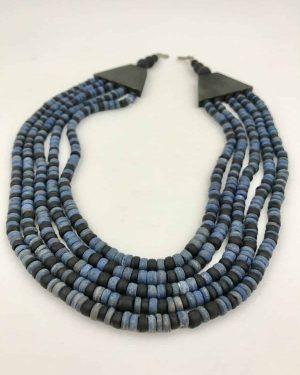 Heishi Dyed Blue Bone Multi Strand Wood Necklace 17″