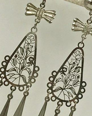 Silver Tone Bow Flower Dangle Post Earrings
