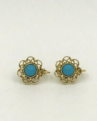 Vintage Gold Tone Turquoise Blue Round Flower Clip Earrings