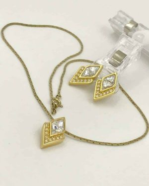Vintage SAL Gold Tone Sparkly Jewelry Earrings Necklace – Necklace 18″ and Post Earrings