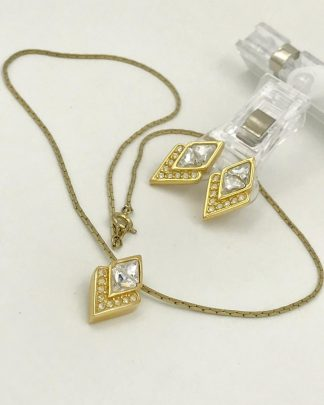 Vintage SAL Gold Tone Sparkly Jewelry Earrings Necklace