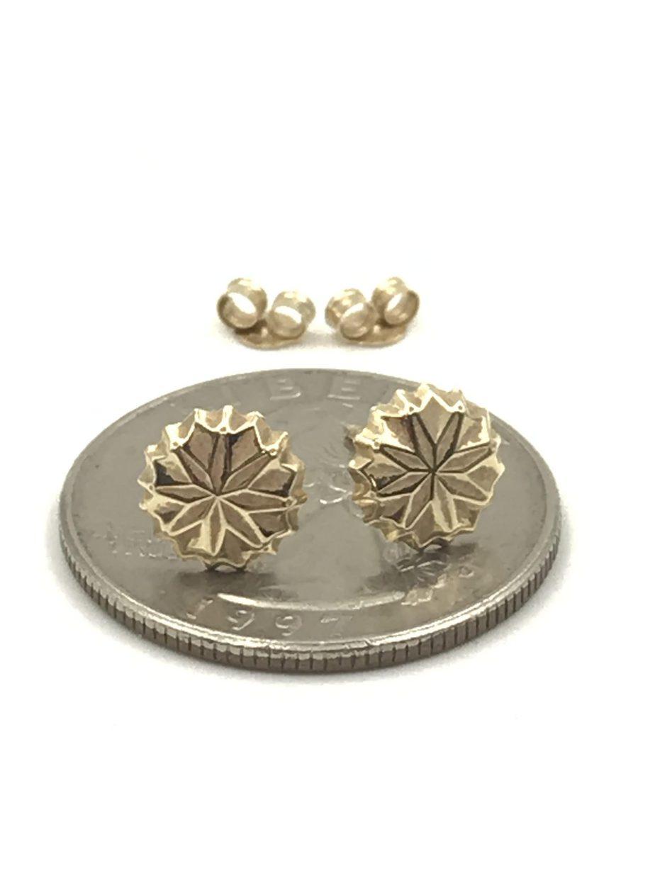2aaf7b0f84b8a Modern 14k Solid Yellow Gold Detailed Ladies Circle Pierced Disc Post  Earrings