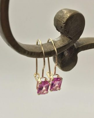 14K Yellow Gold Emerald Cut Pink Sapphire Gemstone Designer Earrings