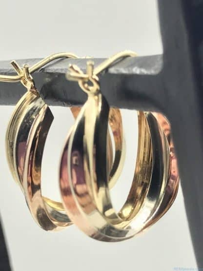 Candela Vintage Retro 14K Trinity Hoop Earrings Tri Color Gold Intertwined Yellow White Rose