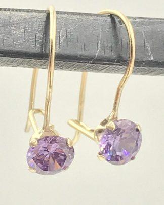 14K Yellow Gold Round Cut Purple Amethyst Gemstone Designer Earrings