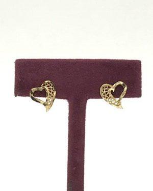 Vintage 14k Solid Gold Filigree Heart Shape Post Earrings