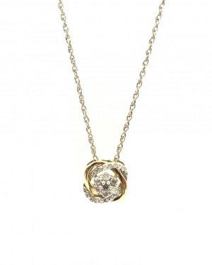 10K Yellow Gold Interlocking Diamond Round Flower Cluster Charm Necklace – 18″ – 1.95g – Signed XL 10K M