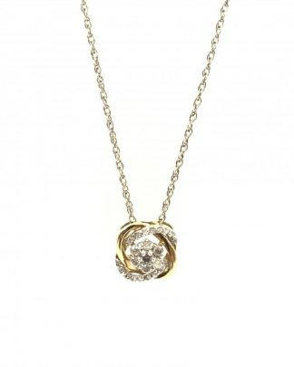 10K Yellow Gold Interlocking Diamond Round Flower Cluster Charm Necklace