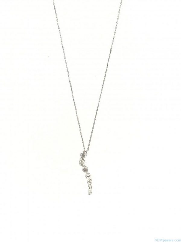 10K White Gold White Sapphire Graduated Gemstone Charm Necklace