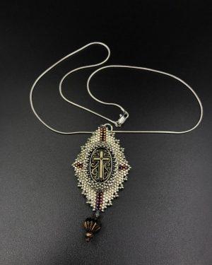 Handmade Bead Cross Gold Bronze Beaded Pendant Necklace 18″