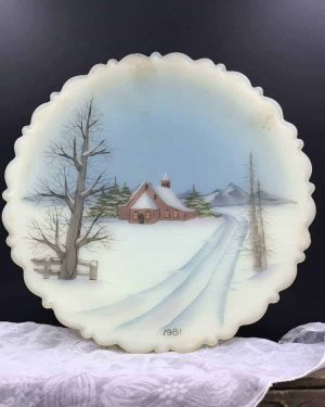 """1981 Fenton Christmas Plate Art Glass """"All Is Calm"""" Hand Painted Artist Signed Custard Plate / Collectible Plate / Vintage Fenton Plate"""