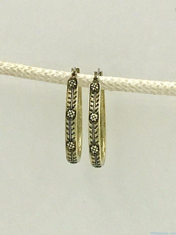 Vintage Brass Flower Hoop Earrings