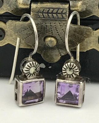 Vintage Sterling Silver Purple Gemstone Dangle Earrings
