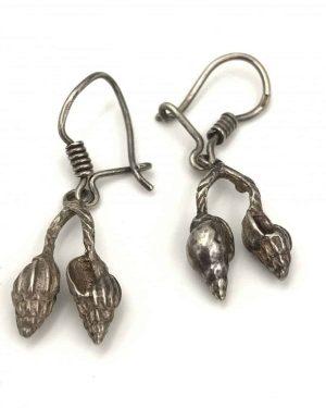 Sterling Silver Conch Seashell Dangle Earrings 925 Mexico