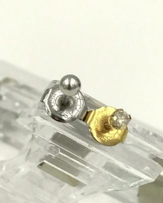 14K Yellow Gold Clear Gemstone Stud & 10K Solid White Gold Ball Stud Earrings - Both Piercing Earrings - Signed Studex Classic USA