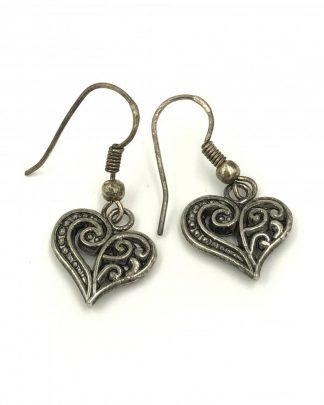 Sterling Silver Filigree Heart Dangle Earrings - Signed 925