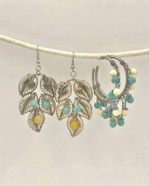 Set of Two Huge Dangle Leaf Post Hoop Bead Earrings – Two Pairs –