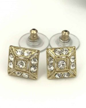 Gold Tone Square Round Glass Stone Earrings – Sparkly