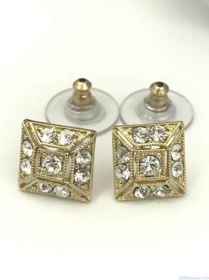 Gold Tone Square Round Glass Stone Earrings