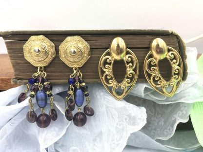 Two Pairs Huge Vintage Gold Tone Earrings