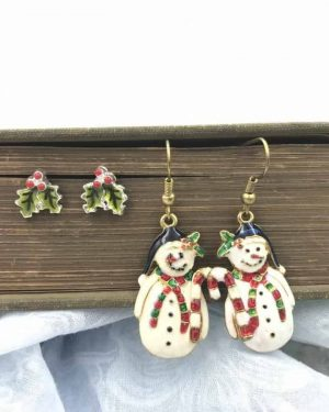 Vintage Christmas Jewelry Earrings – Dangle Snowman Holly Leaves and Berry's Stud Earrings