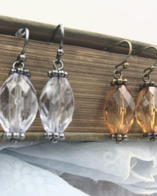 Two Pairs Clear Brown Bead Dangle Earrings