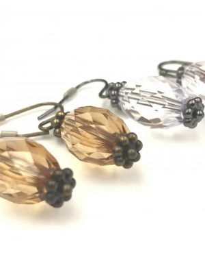 Two Pairs Clear Brown Bead Dangle Earrings – Beads