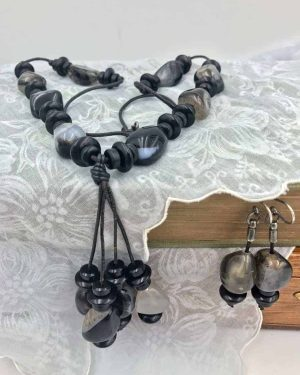Vintage Leather Black Bead Rock Jewelry Set – Necklace and Dangle Earrings