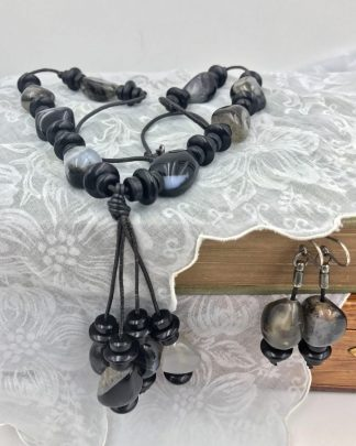 Vintage Leather Black Bead Rock Jewelry Set