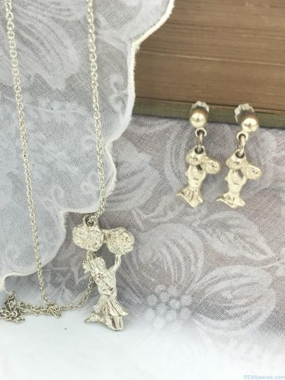 Cheerleader Silver Tone Necklace Charm Earring Jewelry Set