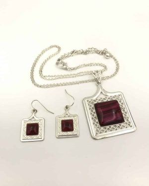 Silver Tone Red Square Filigree Jewelry Set – Multi-strand Necklace 16″ Adjustable and Earring Set