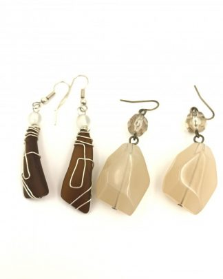 Silver Tone Wire Wrap Brown Stone Off White Rock Bead Earrings