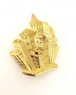 Vintage Gold Tone Signed PARK LANE City Sky Line Brooch Pendant Jewelry Pin 1980