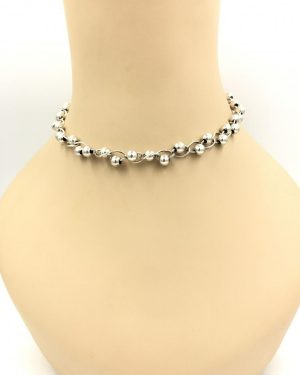 Vintage Sterling Silver Choker Chain Bead Necklace – 15 Inches Signed 925 Italy