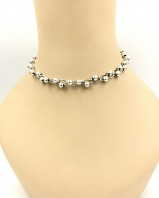 Vintage Sterling Silver Choker Chain Bead Necklace