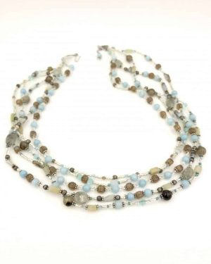 Sterling Silver Blue Brown Gemstone Bead Multi-strand Necklace 18 Inches