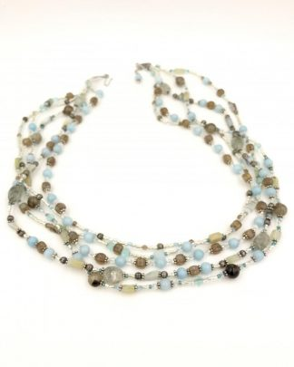 Sterling Silver Blue Brown Gemstone Bead Multi-strand Necklace