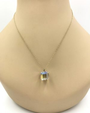 Vintage Yellow Gold 1/20th 12K 3-D Crystal Charm Necklace 18″