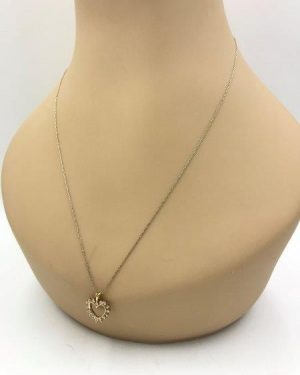 Vintage 14k Solid Yellow Gold Diamond Open Heart Charm Necklace 20″ 1/4 Carat