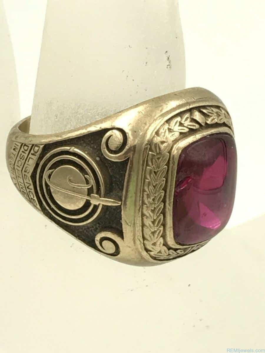 Vintage 10k Yellow Gold Ruby Jostens Mens Class Ring 18g