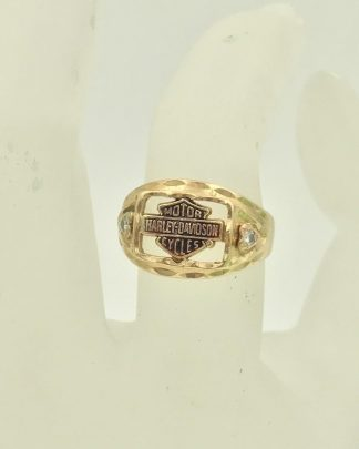 Yellow Gold Harley Davidson Stamper Women's Diamond Ring Size 8