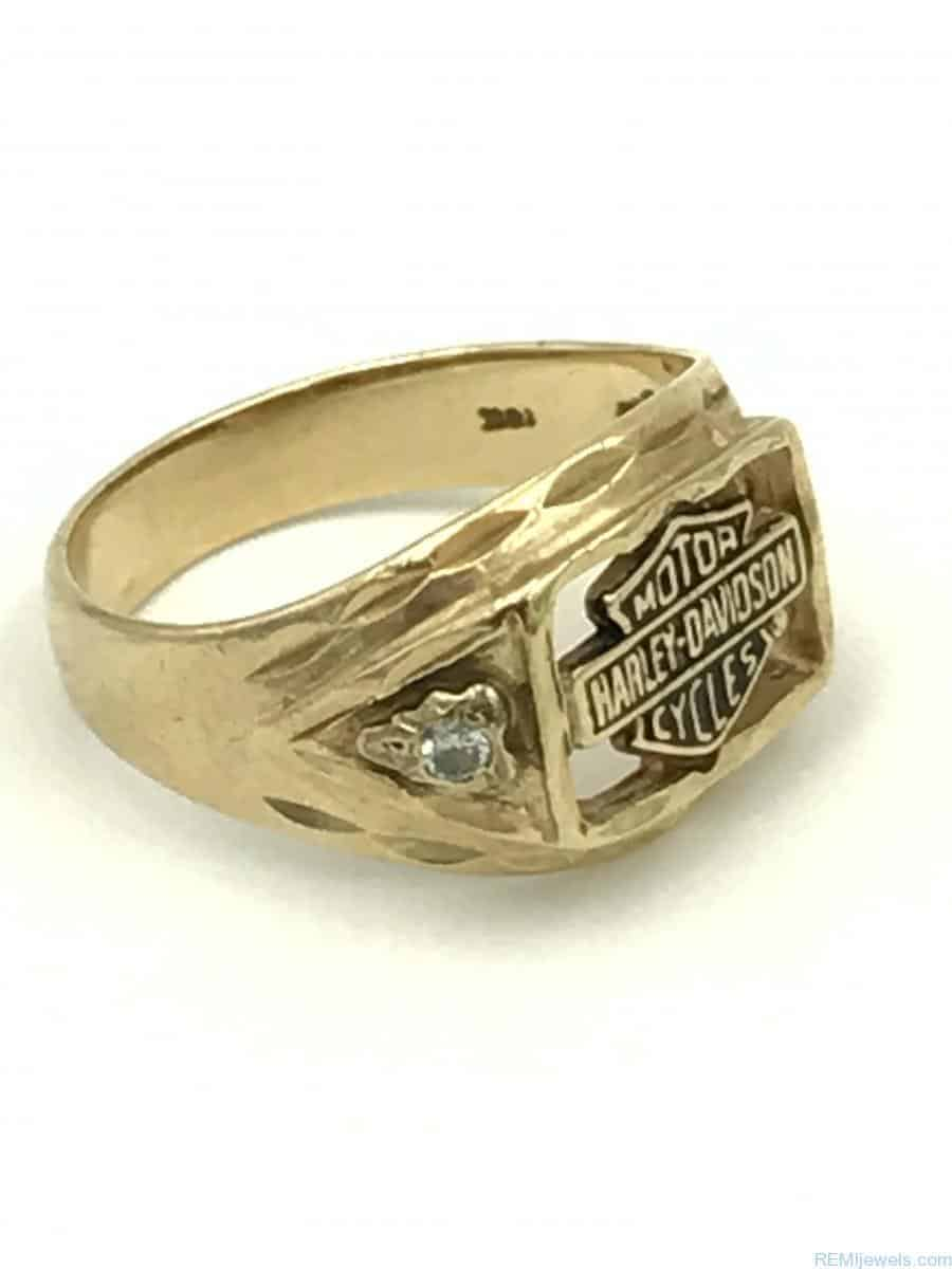 Harley Davidson Wedding Rings.Yellow Gold Harley Davidson Stamper Mens Diamond Ring Size 8 Pinkie Ring Rarely Worn 5 G Signed 10k Official Licensed Product
