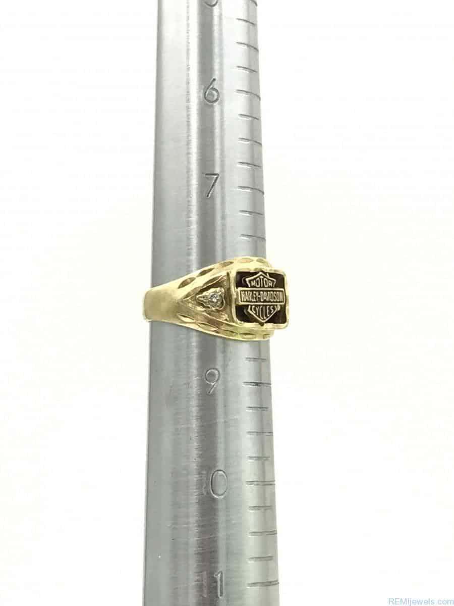Yellow Gold Harley Davidson Stamper Mens Diamond Ring Size 8