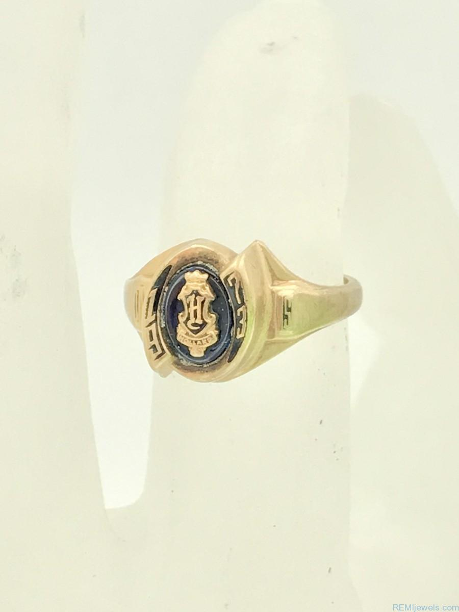 Vintage 10k Yellow Gold Blue Stone Jostens Womens Class Ring