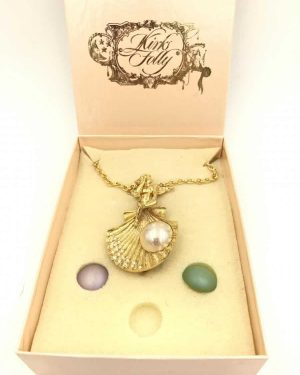 Kirks Folly Whispering Angel Sea Shell Pin Pendant Necklace Interchangeable Stones Box – Missing One Interchangeable Stone