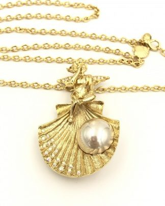 Kirks Folly Angel Sea Shell Pin Pendant Necklace