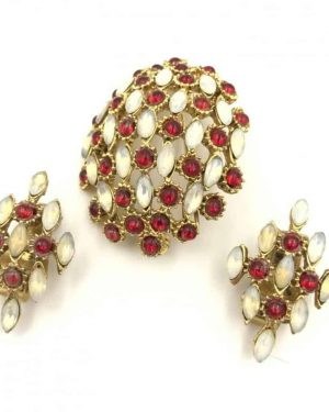 Vintage Designer Hobe Opal Red Brooch Earring Set – Clip on Earrings – Matching Set