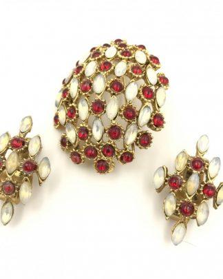 Vintage Designer Hobe Opal Red Brooch Earring
