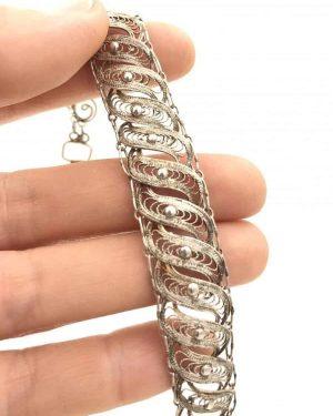 Vintage Ornate Sterling Silver Filigree Bracelet 7″ Signed 925 – Very Delicate