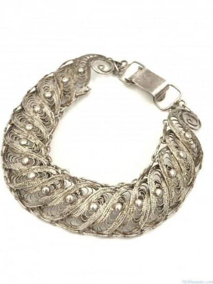Vintage Ornate Sterling Silver Filigree Bracelet